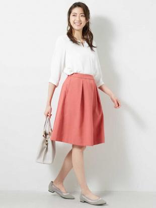 ピンク 【洗える】麻調フレアスカート OFUONを見る
