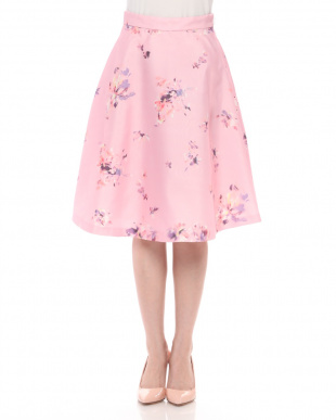 ピンク 3D花柄プリントフレアースカートを見る
