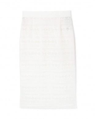 ホワイト 《B ability》幾何レースセットアップスカート BOSCHを見る