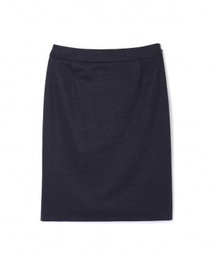 ネイビー [ウォッシャブル]麻混ミラノリブセットアップスカート BOSCHを見る