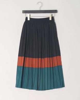 ブラック ブロッキンッグプリーツスカートを見る
