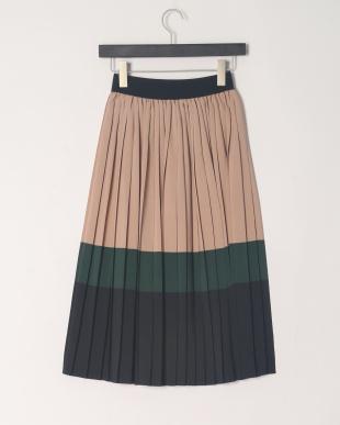 ベージュ ブロッキンッグプリーツスカートを見る