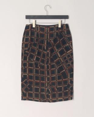 ブラックXテラコッタ系  フリンジ使い スカートを見る