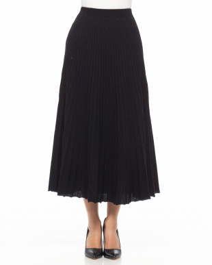 ブラック  プリーツ風ニットスカートを見る
