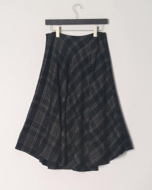 ブラック系  ウール混チェック イレギュラーヘム スカートを見る