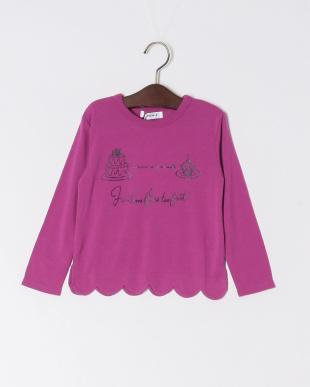 ピンク 裾スカラップ長袖Tシャツを見る