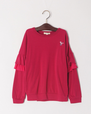 ローズピンク フリル袖Tシャツを見る