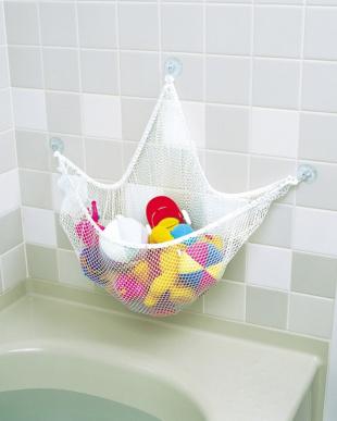 ホワイト 抗菌加工済収納ネット お風呂ハンモックを見る