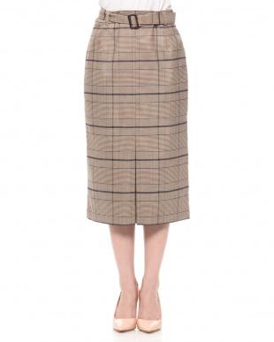 ブラウン チェックセンターボックススカートを見る