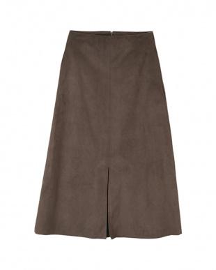 ブラウン フェイクスエードセンタースリットスカートを見る