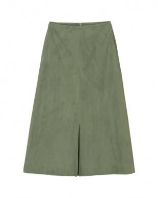 グリーン フェイクスエードセンタースリットスカートを見る
