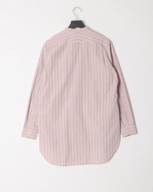 ピンク ストライプバンドカラーロングシャツを見る