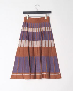 ブラウン系 ニットジャガードボーダースカートを見る