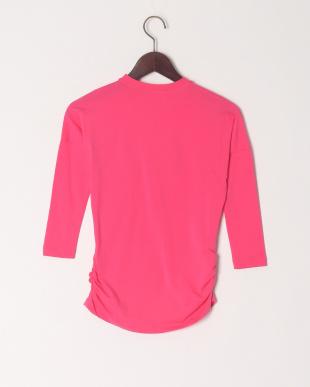 ピンク ハート柄シャーリングTシャツを見る