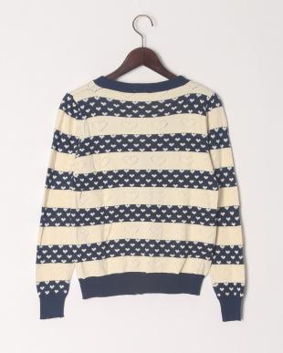 ネイビー 【大人サイズ】ハート柄Vネックセーターを見る