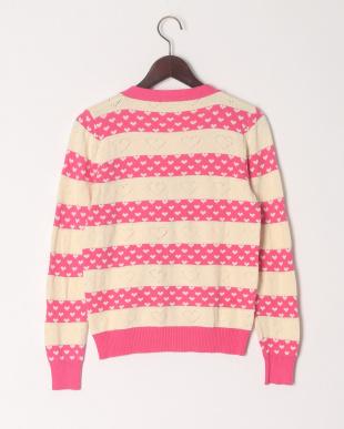 ショッキングピンク 【大人サイズ】ハート柄Vネックセーターを見る