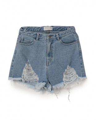 ブルー MIRROR9 Highwaist short pantsを見る