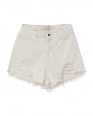 ホワイト MIRROR9 Highwaist short pantsを見る