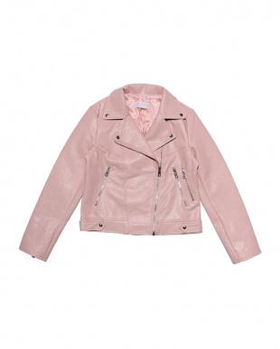 ピンク Fake leather riders jacketを見る