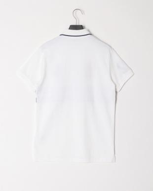 ホワイト  ビッグロゴ ラインデザイン半袖ポロシャツを見る