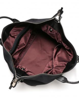 black 異素材切替 ワイドトートバッグを見る
