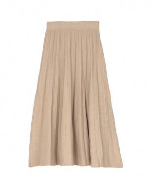 ベージュ ニットプリーツスカートを見る