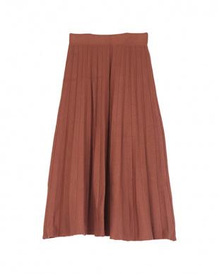 ピンクブラウン ニットプリーツスカートを見る