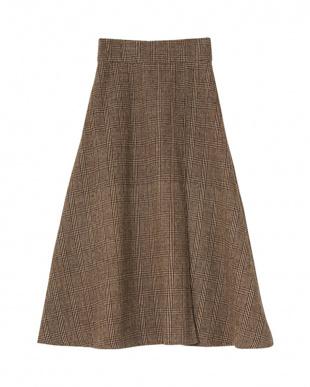 ベージュ チェックラップフレアスカートを見る