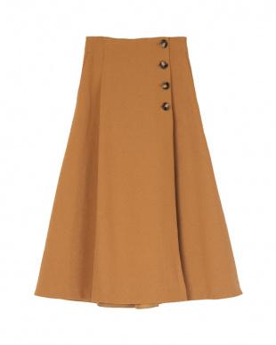 ブラウン フロントボタンラップフレアスカートを見る
