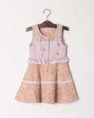 ピンク レイヤード風ジャンパースカートを見る