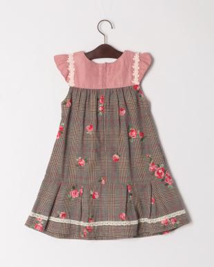 ブラウン ローズ刺繍ジャンパースカートを見る