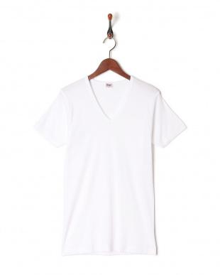 ホワイト  綿100% GOLD 2枚組V首半袖シャツ  2セットを見る