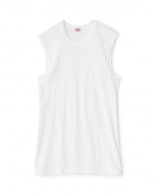ホワイト  綿100% GOLD 2枚組丸首スリーブレスシャツ  2セットを見る