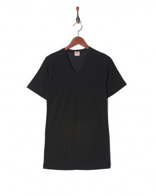 ブラック 吸水速乾 抗菌防臭 涼感メッシュ Vネックシャツ  3セットを見る