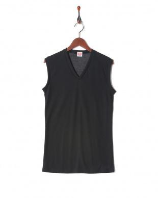ブラック 吸水速乾 メッシュ ウルトラドライ Vネックスリーブレスシャツ  3セットを見る