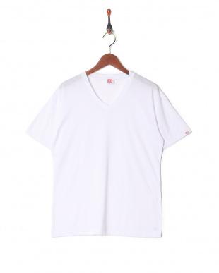 ホワイト カジュアルTシャツ Vネック  3セットを見る