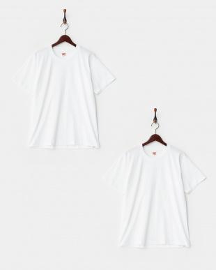 ホワイト  吸水速乾天竺2枚組半袖丸首シャツ ベーシックスタイル  3セットを見る