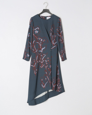 FLOWERS PRINTED BUTTONED DOWN ASMMETRIC DRESSを見る