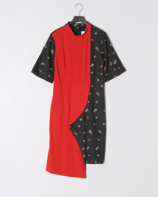 RED FLOWER EMB HRT CHECK DRESSを見る
