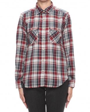 ブラウン TSリラックスチェックシャツを見る