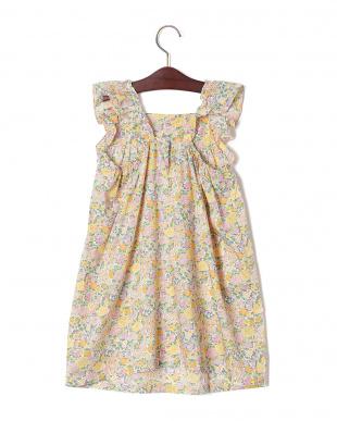 イエローマルチ フラワープリント フリルスリーブ ドレスを見る