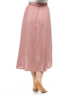 ピンク ウエストリボンロングスカートを見る
