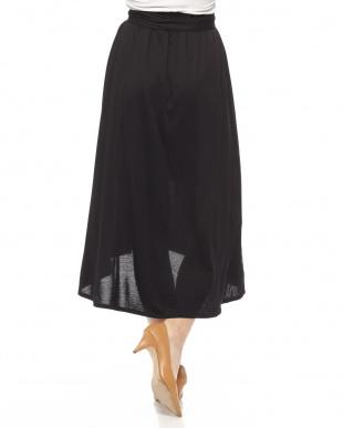ブラック ウエストリボンロングスカートを見る