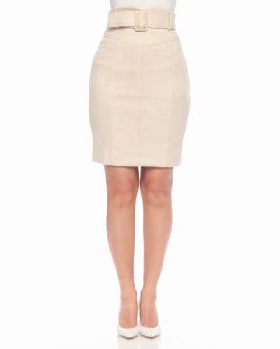 ベージュ スウェードタイトスカートを見る