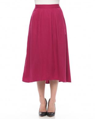 Pink ウール混タックフレアスカートを見る