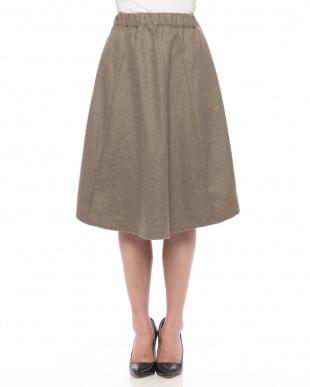 Stripe Navy フレアギャザースカートを見る