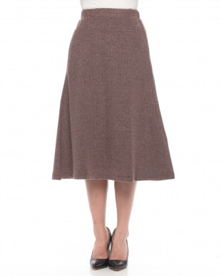 Brown ヘリンボーンジャガードスカートを見る