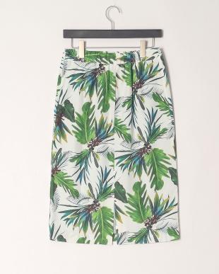 55/緑系H(グリーン) ボタニカルプリントスカートを見る