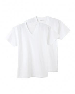 ホワイト VネックTシャツ2枚組 2点セットを見る