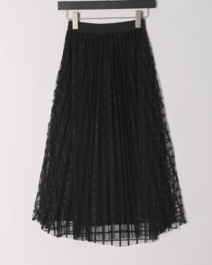 ブラック チェックチュールレーススカートを見る